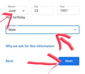 select Date Of birth and gender